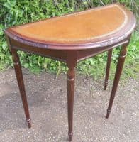 Leather Top Bowfront Mahogany Console Table
